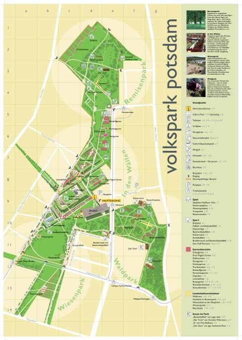 Geländeplan des Volksparks Potsdams
